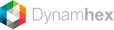 the dynamhex logo, a multi-colored hexagon